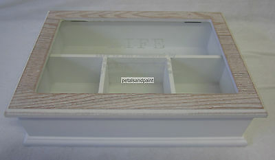 New 4 Division Wooden Trinket Box with Glass Lid Rustic French Provincial Style