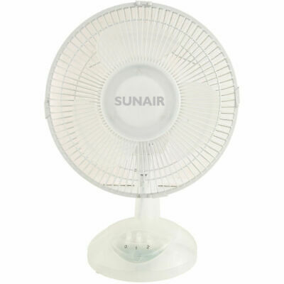 Sunair TDF23 23cm Desk Fan/Tilt/Swivel/Oscillating Head/Air Cooler Cooling