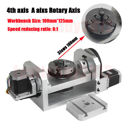 Rotary Table Axis 4th 5th Axis Ratio 8:1 6:1 CNC Dividing Head 3Jaw 100mm Chuck