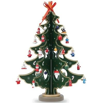 "12.5"" Wooden Tabletop Christmas Tree with Miniature Christmas Ornaments"