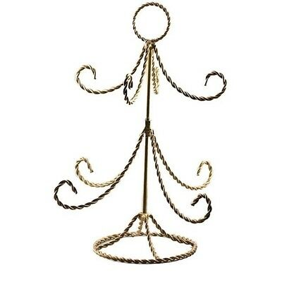 "14"" Christmas Tree Twisted Gold Tone Wire Ornament Stand"
