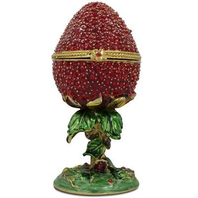 Crystal Red Strawberry Faberge Inspired Russian Egg