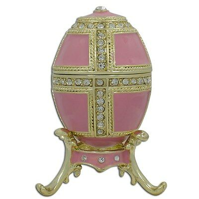 "2.75"" Pink Enamel Faberge Inspired Russian Egg"