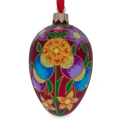 Colorful Flowers on Red Glass Christmas Ornament
