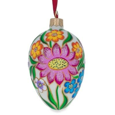 """4.5"""" Colorful Flowers on White Glass Christmas Ornament"""