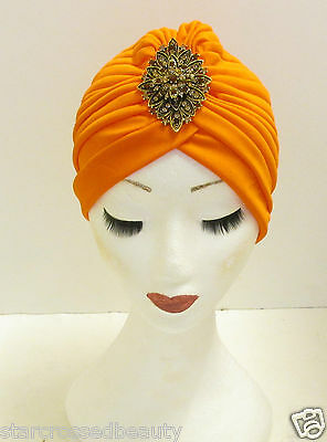 Vintage Art Déco Turban Coiffe Orange Bronze 1920s 30s Charleston 40s Or M37