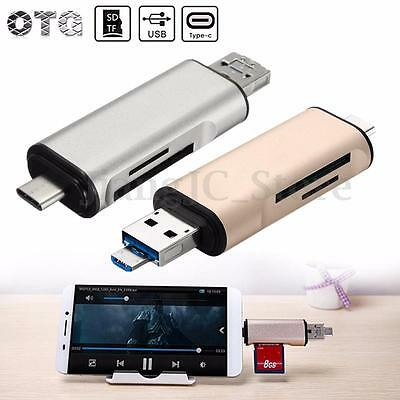 Alloy OTG USB 3.1 Type C to Micro USB TF SD MMC Card Reader Adapter For Macbook