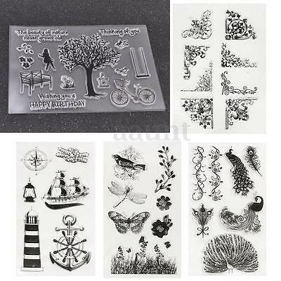 Tree & Butterfly Transparent Silicone Clear Rubber Stamp Cling Scrapbooking DIY