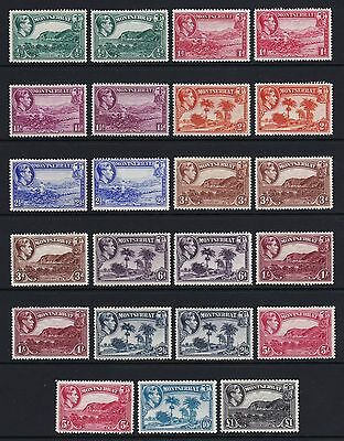 Montserrat 1938-48 Complete all perfs set of 23 - lightly mounted mint £340