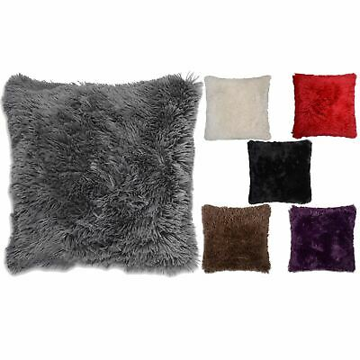 "4 x Faux Fur Cushion Cover Soft & Cuddly Shaggy 17x17"" (43x43cm) Long pile"