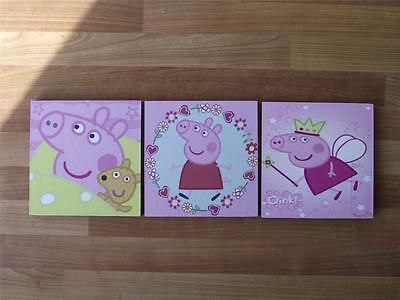 PEPPA PIG pink  CANVAS WALL ART PLAQUES/PICTURES - FREE POST