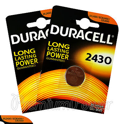 2 x Duracell Lithium CR2430 3V Coin Cell batteries DL2430 ERC2430 K2430L EX:2025