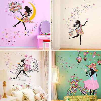 Removable Butterfly Girl Flower Vinyl Wall Stickers Art Decal Mural  Home Decor