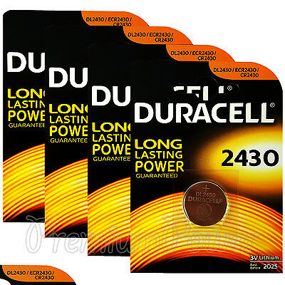 4 x Duracell Lithium CR2430 3V Coin Cell batteries DL2430 ERC2430 K2430L EX:2025
