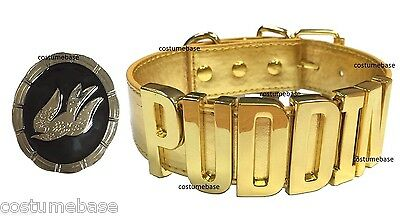 Harley Quinn GOLD Suicide Squad Puddin CHOKER Collar Necklace W/SongBird Pendant