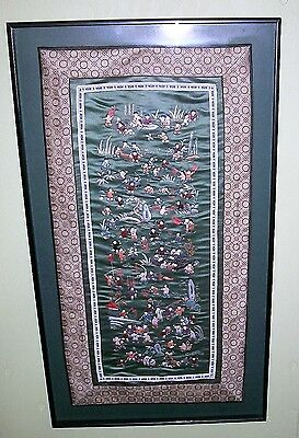 Chinese Silk Embroidery Framed Green & Multi Color Textile 100 Children Art