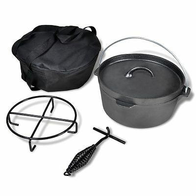 Cast Iron Dutch Oven 4.2L Camping Cookware Camp Cooking Set Caravan Boating
