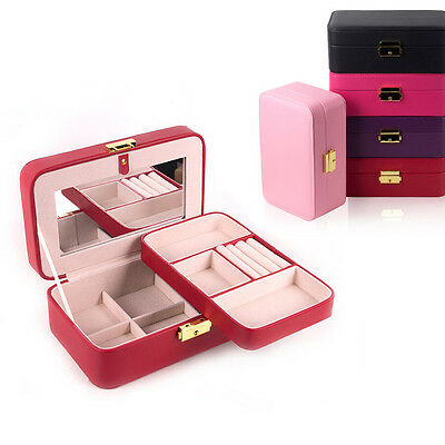 Vintage Jewelry Box Storage Organizer Case Ring Earring Necklace Holder Leather