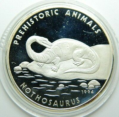 Camboia 20 Riels  Silver Proof Coin 1994 - Km#96 Prehistoric Animals