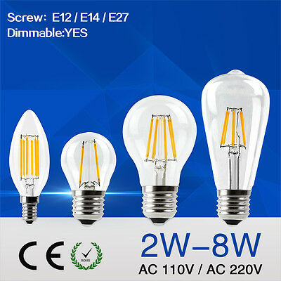LED Edison Bulb Dimmable Candle Light Retro Globe Lamp 110V/220V 2W 8W Filament