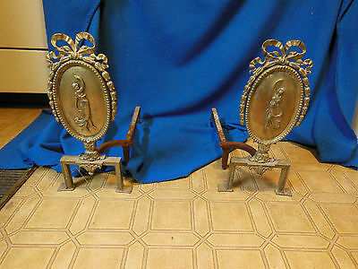 19thc. Antique Victorian Cast Iron Figural Fireplace Andirons