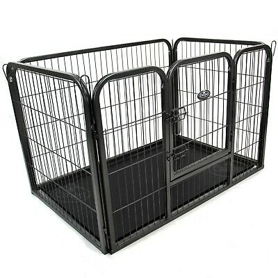 Heavy Duty Pet Playpen Cage Dog Whelping Box Metal Run Folding Enclosure Floor