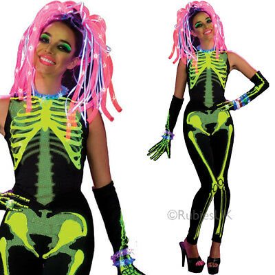 Ravin Skelee Girl Costume – Ladies Halloween Neon Bright Multi Coloured Outfit