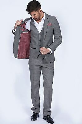 Mens Marc Darcy Designer Vintage Grey Tweed Herringbone Check Three Piece Suit