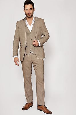 Mens Marc Darcy Designer Tan Brown Tweed Three Piece Work Wedding Suit Sz 34-52