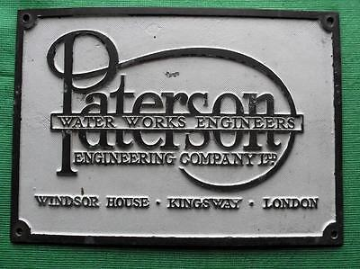 "c1900 Brass Vintage Sign Plaque : PATERSON WATER WORKS ENGINEERS  LONDON 11"" x8"""