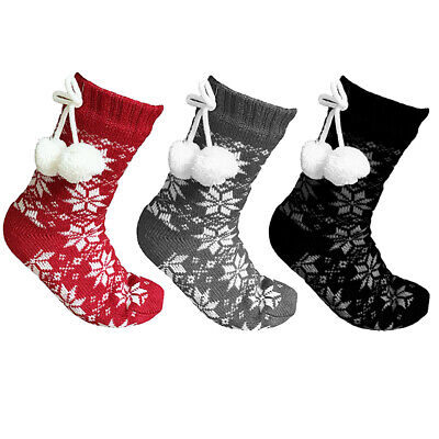 Ladies Womens Girls Nordic Print Winter Warm Cosy Slipper Socks