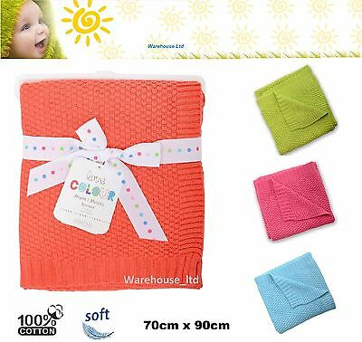 Silvercloud 100% Cotton Baby Blanket Babies Cot Wrap Boys Girls Gift 4 Colours