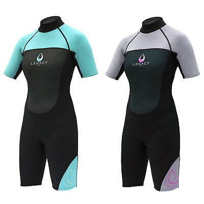 Legacy 3/2mm Womens Short Wetsuit Surf Ladies Shorty Swim Long Wet Suit S-XXL