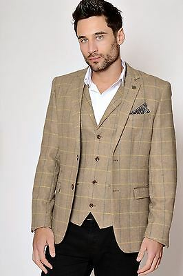 Mens Marc Darcy Designer Beige Oak Heritage Tweed Check Blazer Jacket Size 34-52