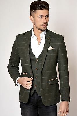 Mens Marc Darcy Designer Khaki Green Vintage Tweed Herringbone Check Blazer