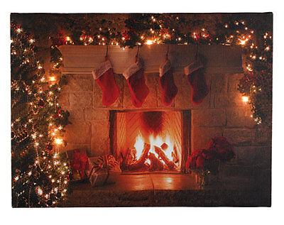 Remote Control LED Light Up Christmas Canvas Fireplace
