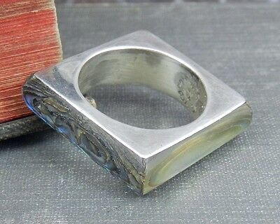 Signed FVB Taxco Mexico Sterling Silver & Abalone Square Ring - Size 8.25