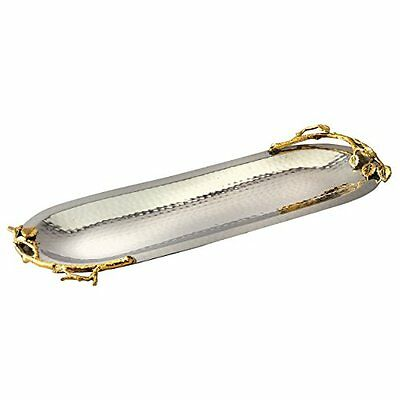 Elegance Golden Vine Hammered Stainless Steel Oval Tray, 15.25 by 5.75-Inch, ...