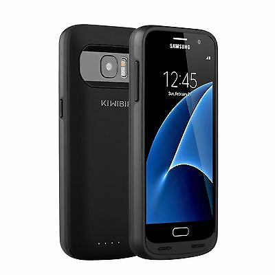 KiWiBiRD Samsung Galaxy S7 / S7 Edge Battery Charger Charging Case, Matte Black
