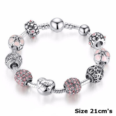 925 Silver Rose Crystal Charm Bracelet Rhinestone Charms Bangle Jewelry Gift