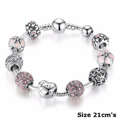 925 Silver Rose Crystal Charm Rhinestone Bracelet Charms Bangle Jewelry Gift