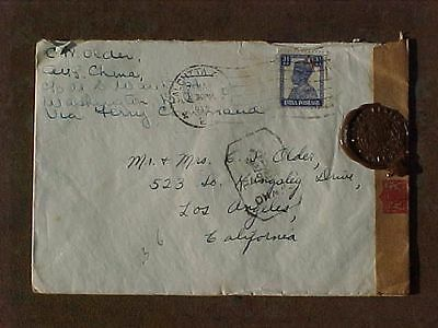 Wwii Flying Tigers Avg 1942 Cover From Ace Pilot Kunming Calcutta Censor Seals