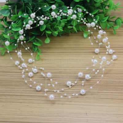 2 Pcs Lot Charming Resin& Faux Pearl String White Beads Chain Head Decor Jewelry