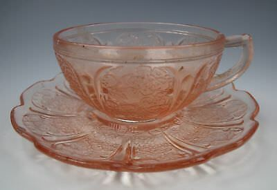 Jeannette Glass CHERRY BLOSSOM-PINK Child Cup & Saucer Set(s) EXCELLENT