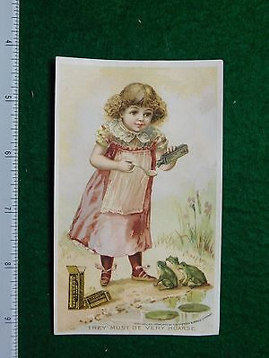 1870s-80s Charles E Hires Cough Cure Girl Dress Bottle Victorian Trade Card F30