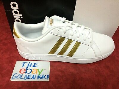 Adidas Baseline Kids Boys/Girls CG5844 White/Gold Shoes NEW