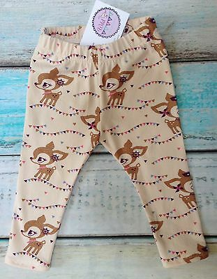 NEW Little Deer fabric Baby Girl Pretty Leggings Age 12-18 months