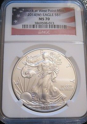 2014 (W) West Point Silver Eagle 1 Oz Coin Ms70 Ngc // Flag Label // Mc419