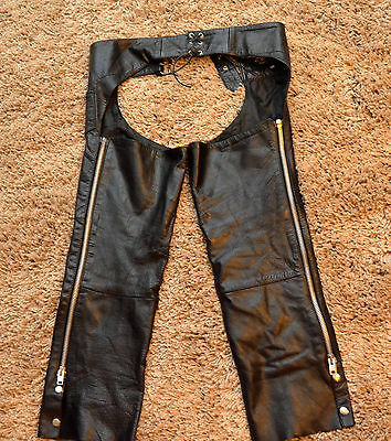 XElement leather motorcycle riding chaps solid black 30 adj waist X Element EUC