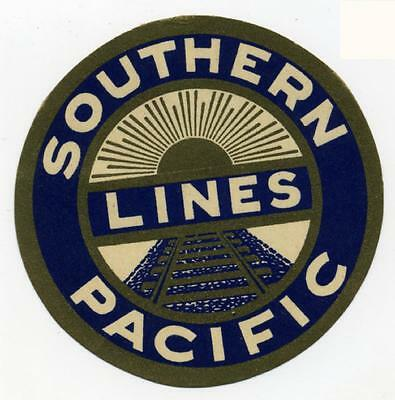 SOUTHERN PACIFIC Lines - Great Old ART DECO RAILROAD Luggage Label, c. 1940